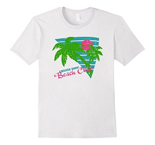 [Men's 80s Style Vintage Cruise Ship Beach Club T Shirt XL White] (80s Style Men)