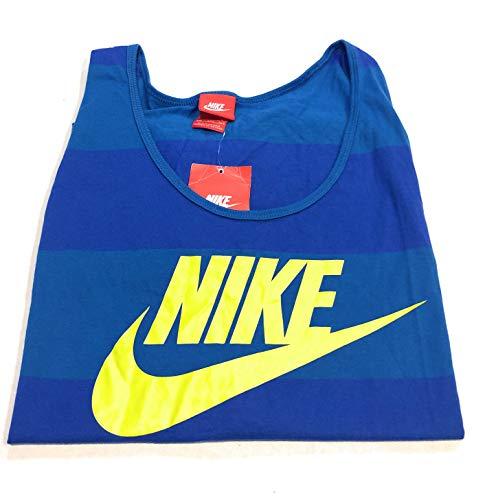 Nike Men's Glory Top - Striped Tank Game Royal/Military Blue/Venom Green 2XL