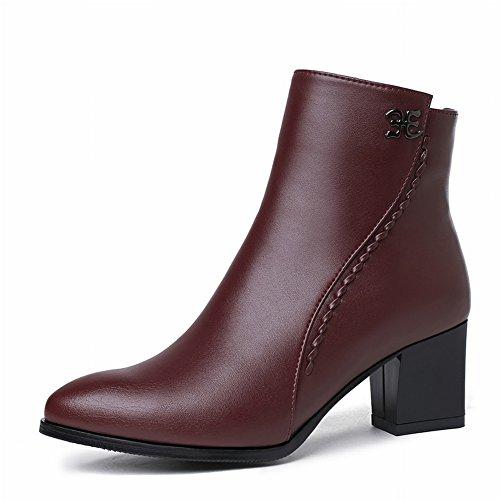 rojo de Tamaño Cachemira Más Mujer de Zapatos Punta con una vino Botas de Gruesos Botas de de Moda Zapatos Sola con Pequeño Algodón EUR34 de q4IwOdxag