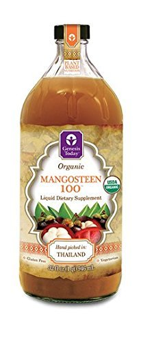 Mangosteen 100 - 100% Pure Undiluted ORGANIC Juice ~ GENESIS TODAY 32oz Bottle ~ 30g Pure Fruit Pulp Per Serving!!! by Genesis Today (Pure Organic Mangosteen Juice)