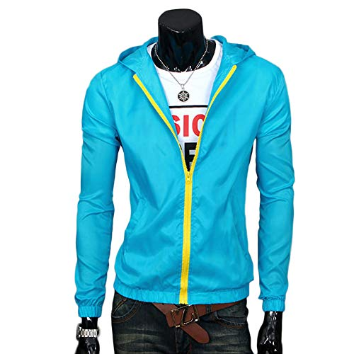 Ccoco Hombres Impermeable Cortavientos Impermeables Parka Trench Blazer Outwear Coat Jacket-Lake Terciopelo Azul-M