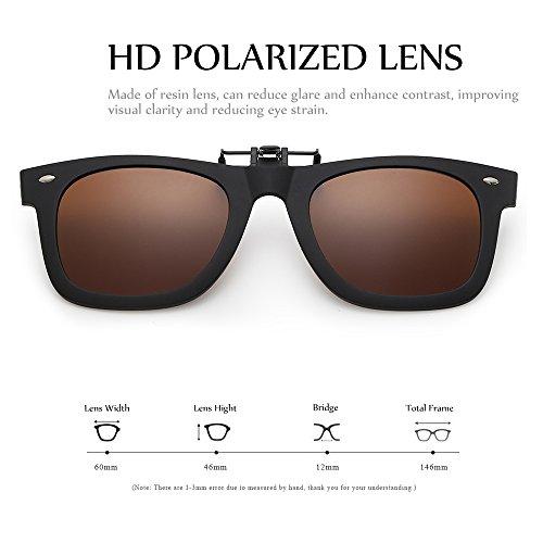 b153e1f9a60 Amazon.com  WELUK Polarized Clip On Flip Ups Sunglasses TR90 Frame UV400  Driving (Brown