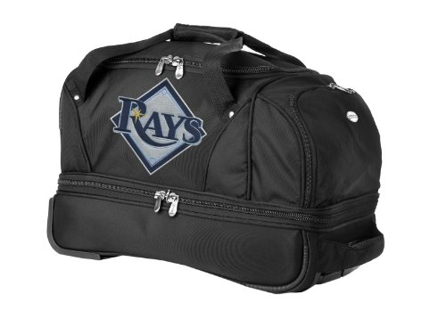 mlb-tampa-bay-rays-denco-22-inch-drop-bottom-rolling-duffel-luggage-black