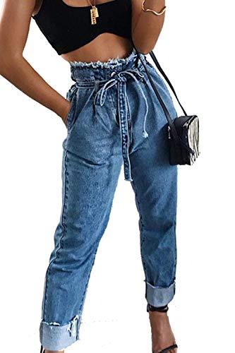 des Les Ceinture Jeans Haute Zamtapary Longueur Taille Femmes Blue Pleine Jean avec AqBAnXt