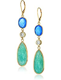 Yellow Gold-Plated Sterling Silver Swarovski Zirconia Multi-shaped Lever Back Earrings