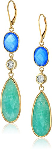 Yellow Gold-Plated Sterling Silver Blue Agate and Green Amazonite Multi-shaped Earrings with Swarovski Zirconia (Swarovski Agate Earrings)