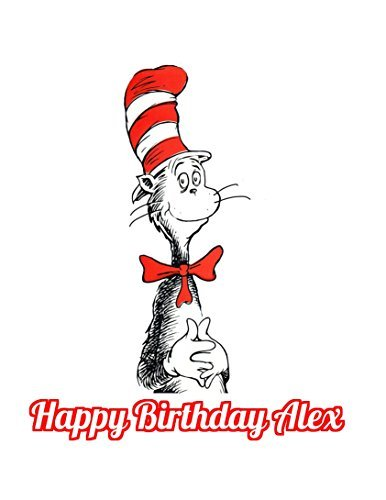 Dr Seuss Cat In The Hat Edible Image Photo Cake Topper Sheet Personalized Custom Customized Birthday Party - 1/4 Sheet - (Cat In The Hat Cake Topper)