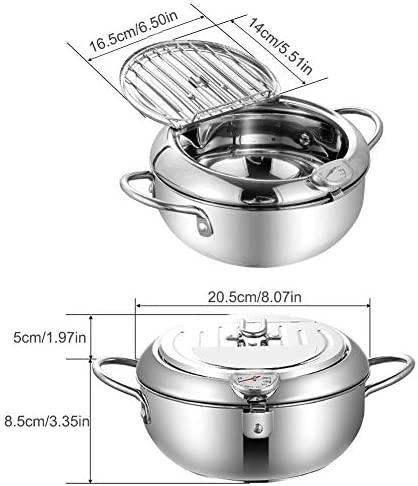 Temperaturregelfritteuse, Mini-Haushalts-Tempura-Fritteuse im japanischen Stil mit Thermometer und Deckel, Frittiertopf Tempura-Frittierpfanne Temperaturregelung Kochwerkzeug