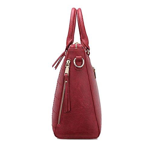 Bolsos Para Mujer Moda PU Cuero Hobos Bolso Messenger Bolsas De Asas Multicolor Purple