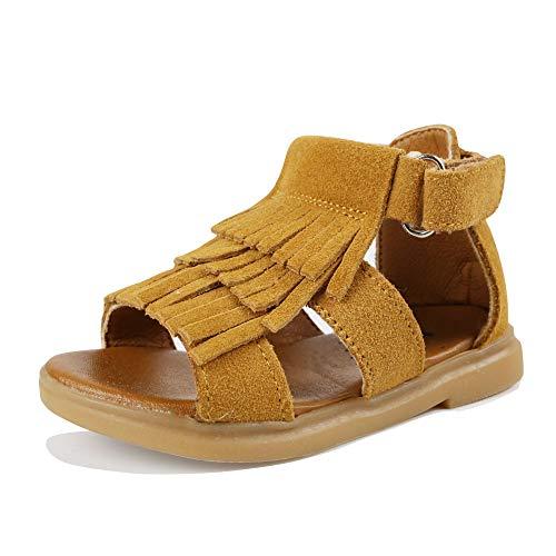 Muy Guay Toddler Girls Sandals Genuine Leather Little Girls Fringe Gladiator Flat Sandals for Baby Girls (12 M US Little Kid, Brown)