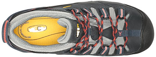 Keen Utility Womens Detroit Low Work Boot, Midnight Navy/Hot Coral, 7 W US