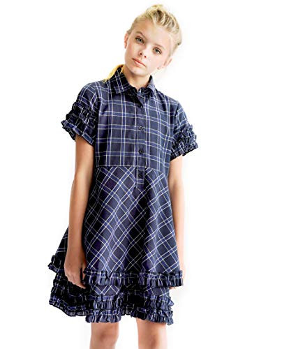 Smukke, Big Girls Printed Dress (with Options), 7-16 (Navy Plaid, 8)