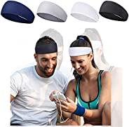 Headbands for Men, 4 Pack Thin Sweat Bands for Men Head, Non-Slip Hair Band for Sport, Workout, Running, Train