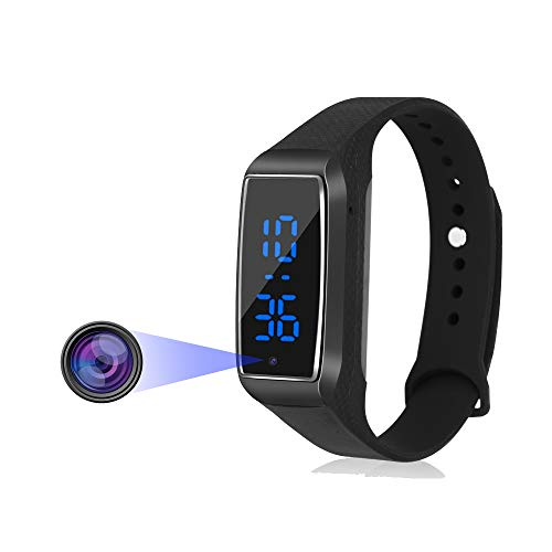 Aipinvip Wearable Bracelet Camera Mini-Spy-Camera-Hidden-Camera 1080P Wristband Sports Camera with Time Display for Business Conference and Security(not Included SD Card)