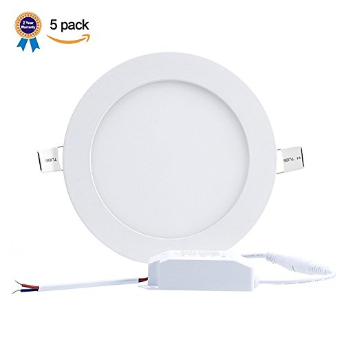 B-right Pack of 5 Units 12W 6-inch Ultra-thin Round LED Recessed Panel Light, 850lm, 80W Incandescent Equivalent, 5000K Cool White, LED Recessed Ceiling Lights for Home, Office, Commercial Lighting