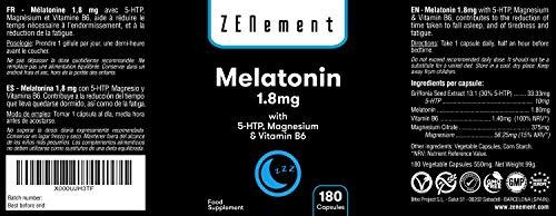 Melatonina 1,8 mg con 5-HTP, Magnesio y Vitamina B6, 180 Cápsulas | Ayuda con el insomnio o trastornos del sueño | Vegano, No-GMO, GMP, libre de ...