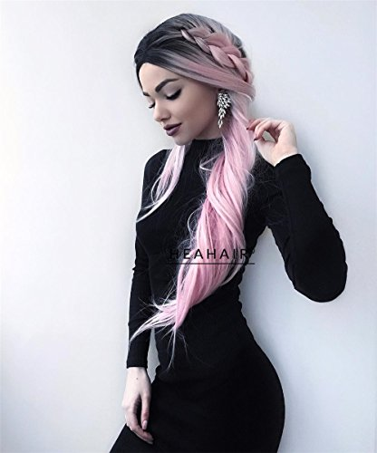 Frenchie Grease Halloween Costume (Heahair Affortable Long Ombre Dark Root Pink Princess Silky Handtied Synthetic Lace front)