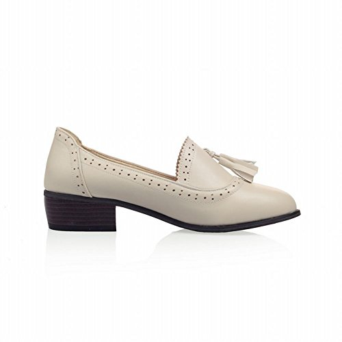 Carolbar Femmes Glands Mode Bureau Dame Style Simple Bas Chunky Talon Mocassins Chaussures Beige