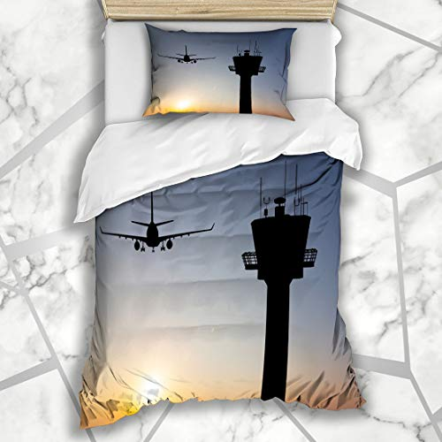Ahawoso Duvet Cover Sets Twin 68X86 Amsterdam Orange Traffic Control Tower Red Landing Air Airport Plane Aviation Flight Departure Microfiber Bedding with 1 Pillow -