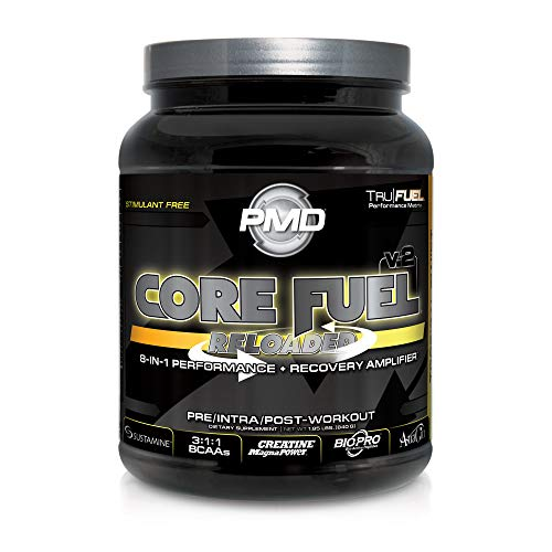 PMD Sports Core Fuel Reloaded - Creatine, Glutamine, BCAAs, Endurance And Complex Carbohydrate - 8-in-1 Premium Pre Intra And Post-Workout Performance And Recovery Drink - Tropical Twist - 20 Servings (Creatine Fuel Pump)