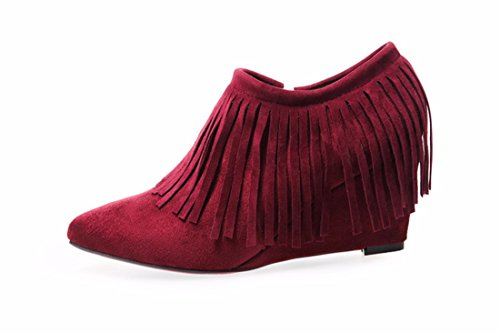 European and American high heel and naked boots, single boot, slope heel, naked boots, suede boots Wine red (single Li)