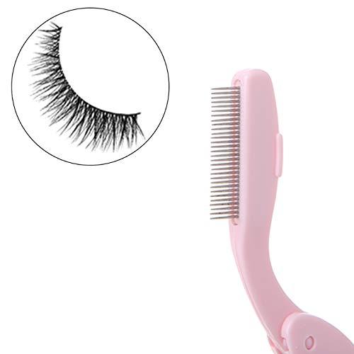 Yichener Cosmetic Metal Steel Needles Foldable Eyebrow Comb Eyelash Brush Makeup Tool
