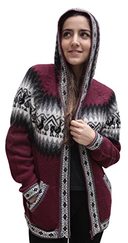 Little Llamas Hooded Alpaca Wool Knitted Jacket Hoodie Sweater (XXLarge, Burgundy)
