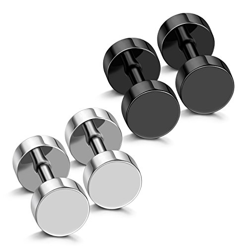 Stud Fake Plug - JewelrieShop Men Body Jewelry Fake Illusion Tunnel Plug Faux Expander Stainless-steel Double Side Screw Stud Earrings 18G
