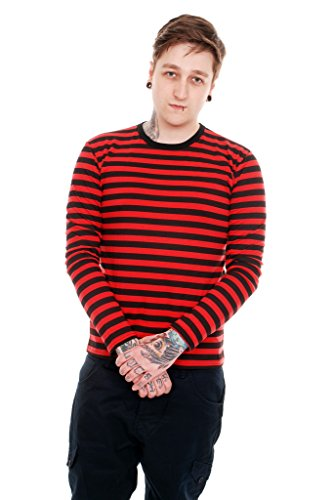 Mens Indie Retro 60's Black & Red Striped Long Sleeve T Shirt - Mens Indie Fashion