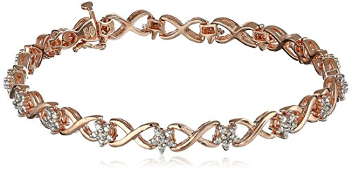 14k Rose Gold Plated Sterling Silver Diamond Infinity Link B