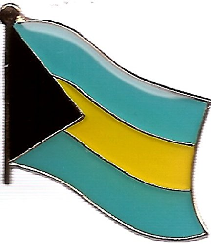 Wholesale International Single, Double and Friendship Flag Lapel Pins, Enamel Tie & Hat Pin Badges with Over 100 Countries Available (Bahamas, 50 Waving Flag Lapel Pins)
