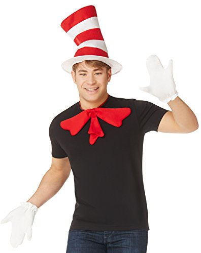 Spirit Halloween Cat in The Hat Costume Accessory Kit Deluxe - Dr. Seuss Red, White ()
