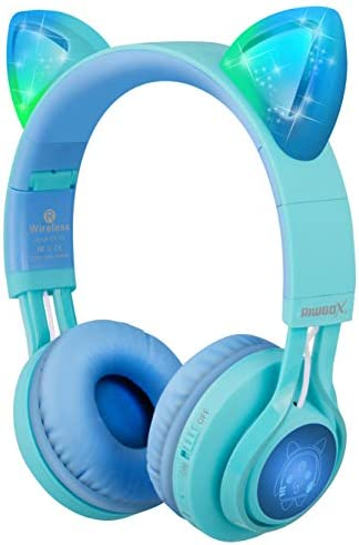 Kids Headphones, Riwbox CT-7S Cat Ear Bluetooth Headphones 85dB Volume Limiting,LED Light Up Kids Wireless Headphones Over Ear with Microphone for iPhone/iPad/Kindle/Laptop/PC/TV(Blue&Green)