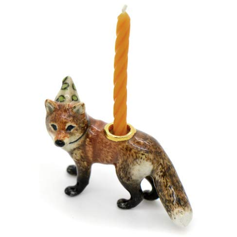 CampHollow Red Fox Party Animal Candle Holder Hand Painted Porcelain Birthday Supplies Ceramic Animal Woodland Fox Candle