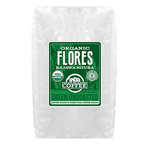 Green Unroasted Coffee, 5 Lb. Bag, Fresh Roasted Coffee LLC. (Organic Flores Bajawa Ngura)