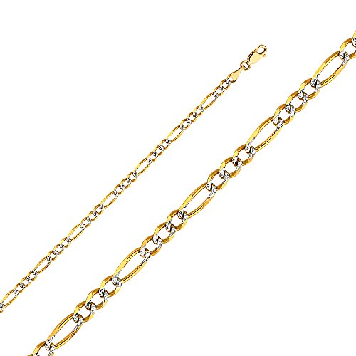 14k Yellow Gold Solid Men's 4mm Figaro 3+1 White Pave Chain Necklace with Lobster Claw Clasp - 24