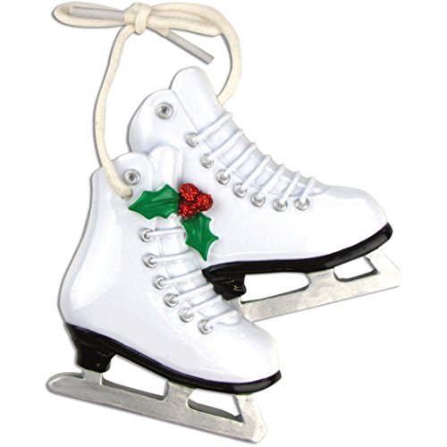 Personalized Figure Skates Christmas Tree Ornament 2019 - White Pair Ice Shoe Peppermint Athlete Duo Coach Dance Hobby Olympics Profession Winter Sport Gender Neutral Gift Year - Free Customization