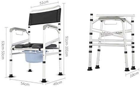 MJY Haushaltsprodukte Dongyd Duschklappstuhl Badesitz Senior Schwangere Mobiler Toilettenhocker Sitzstuhl mit Rückenlehne und Armlehne höhenverstellbar