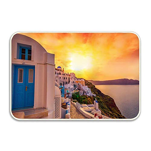 Oia Town of Greece Famous Houses Blue Dome on Aegean Sea Indoor/Outdoor Doormat Anti-Skid Entrance Rug Floor Mat Home Decor Outside Doormat 16 X 24 Inch