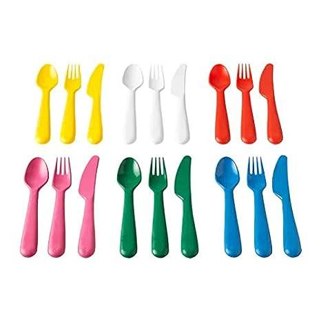 IKEA Kalas Juego de cubiertos (cuchara/tenedor/cuchillo), varios colores, juego de 18 piezas