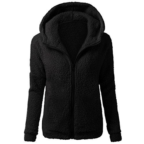 Nadition Plus Size Winter Coat Clearance ♥ Warm Women Zipper Sherpa Fleece Hoodie Cotton Coat Outwear (Black, - Coat Size Plus Cotton