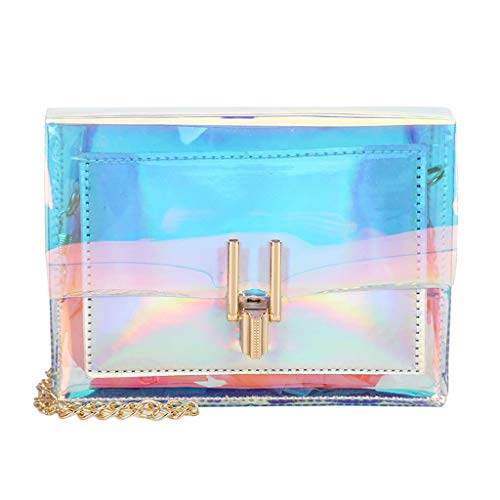 (Mini Hologram Iridescent Purse Chain Shoulder Bag Evening Clutch for Women and Girls Silver)
