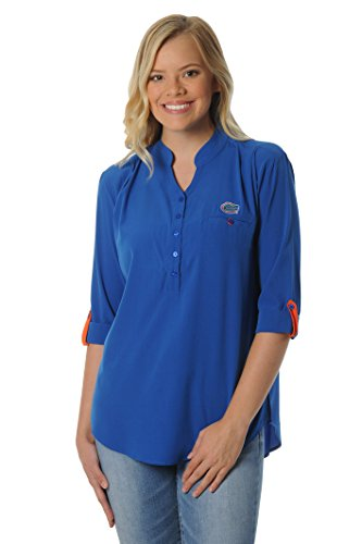UG Apparel NCAA Florida Gators Women's Button Down Tunic Top, Medium, Royal - Polos Gators Florida