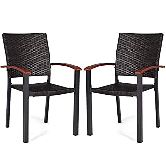 Tangkula Dining Chairs Outdoor Outdoor Indoor Garden Beach Lawn Patio  Armchair Set with Eucalyptus Wood-Made Armrests Ergonomic Rattan Wicker  Chairs ...