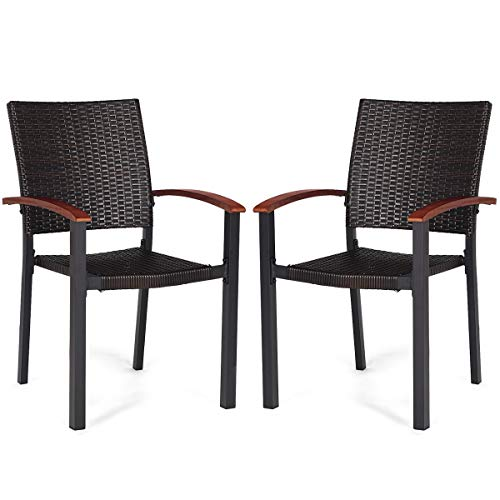 Tangkula Dining Chairs Outdoor Outdoor Indoor Garden Beach Lawn Patio Armchair Set with Eucalyptus Wood-Made Armrests Ergonomic Rattan Wicker Chairs Set with Aluminum Frame for Balcony Chairs (2 ()