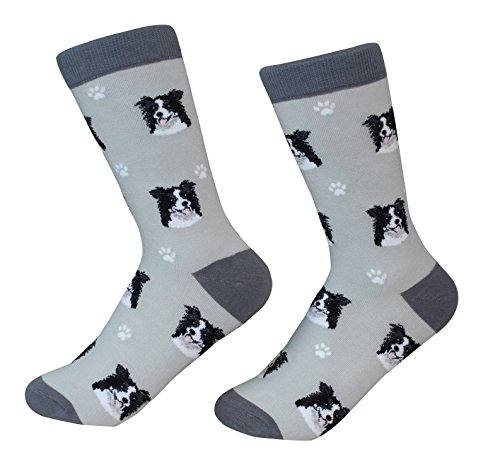 Border Collie Socks -200 Needle Count - Soft Combed Cotton - Unisex, Grey, One Size Fits Most