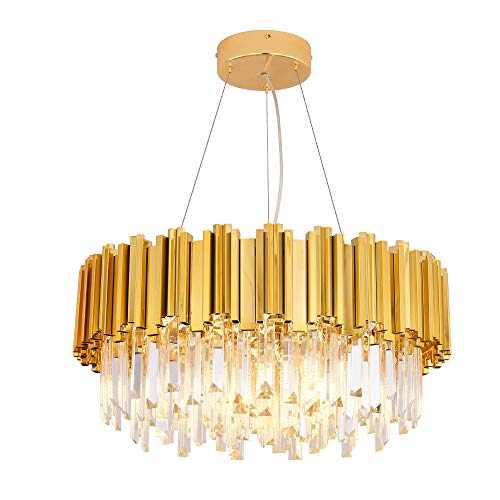 (MEELIGHTING Gold Plated Luxury Modern Crystal Chandelier Lighting Contemporary Raindrop Chandeliers Pendant Ceiling Lights Fixture for Dining Room Living Room Hotel Bedroom W21.6