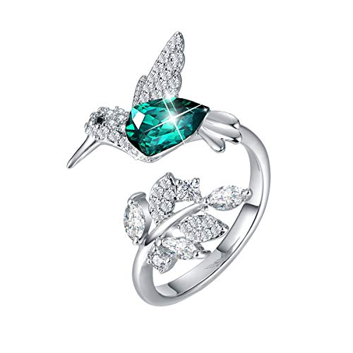 CDE Fine Ring Sterling Silver Hummingbird Open Rings Embellished with Crystals from Swarovski Jewelry Gift for Mothers Day ()