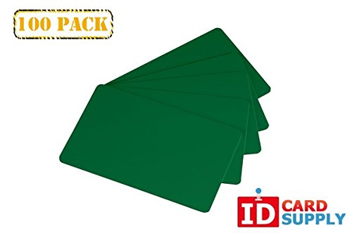 Pack of 100 Green CR80 Standard Size PVC Cards | 30 mil Thickness by easyIDea