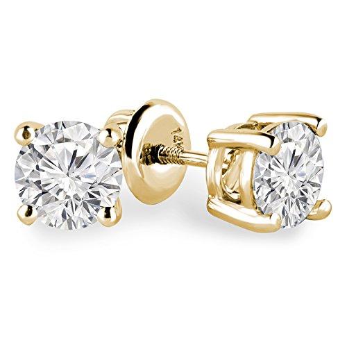 5/8Outlet-Solitaire ronde Diamant Boucles d'oreilles clous en or jaune 14K avec fermoirs à vis-md160139